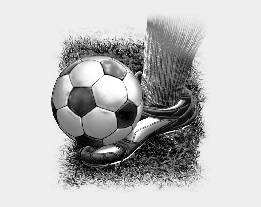 foot kicking soccer ball clipart, Cartoons - Soccer Fabric, Foot Kicking The Ball, Black And White - Foot Kicking Soccer Ball