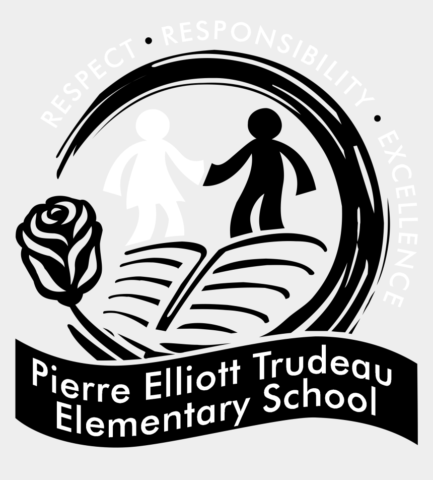 black and white elementary school clipart, Cartoons - Pierre Elliott Trudeau Elementary School Logo Black - Sibugay Matthew Jackson School Inc