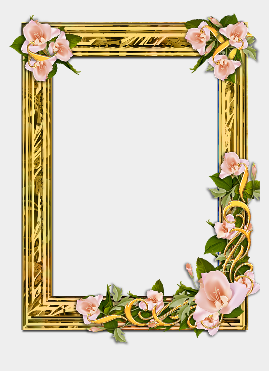 gold flowers clipart, Cartoons - Png Gold Frame With Flowers On A Transparent Background - Transparent Photo Frame Png