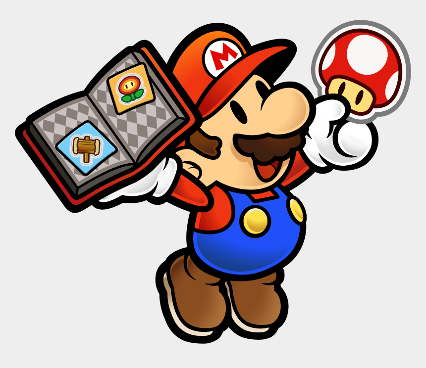 holding book clipart, Cartoons - Mario Holding A Book Of Stickers And A Mushroom - Paper Mario Sticker Star Gif
