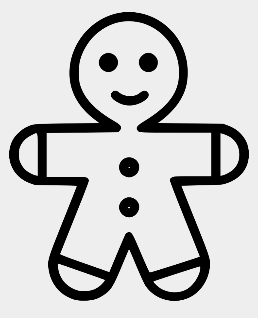 gingerbread man black and white clipart, Cartoons - Gingerbread Man Comments - Gingerbread Man Outline Svg