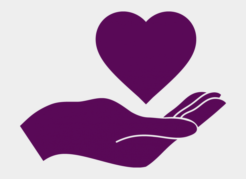 hand over heart clipart, Cartoons - Deep Purple Icon Of Hand With Heart Above It - Hand Holding A Heart