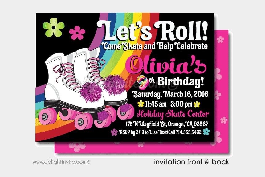 80's roller skates clipart, Cartoons - Roller Skate Party Printable Invitations [di-225dp] - Roller Skating Bday Cards