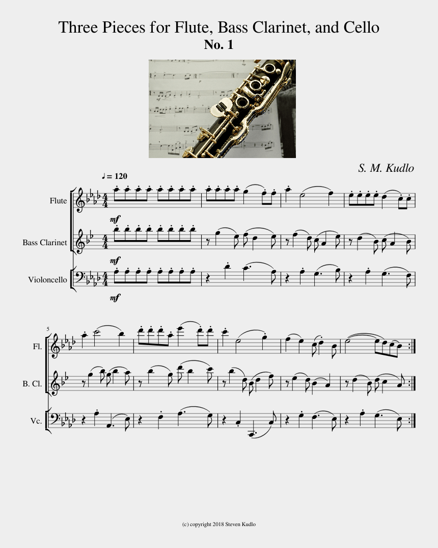 clarinet clipart, Cartoons - Three Pieces For Flute, Bass Clarinet, And Cello - Sheet Music