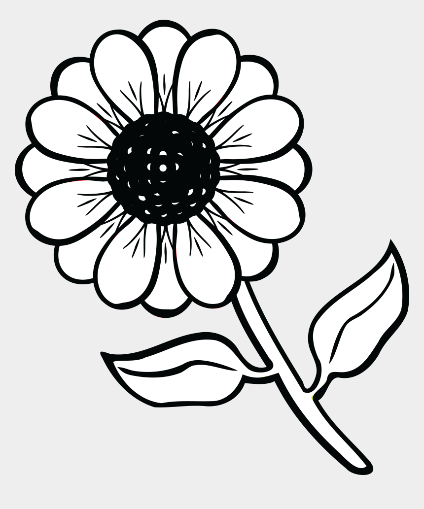 flowers clipart black and white, Cartoons - Free Clipart Of A Daisy Flower - Black And White Flower