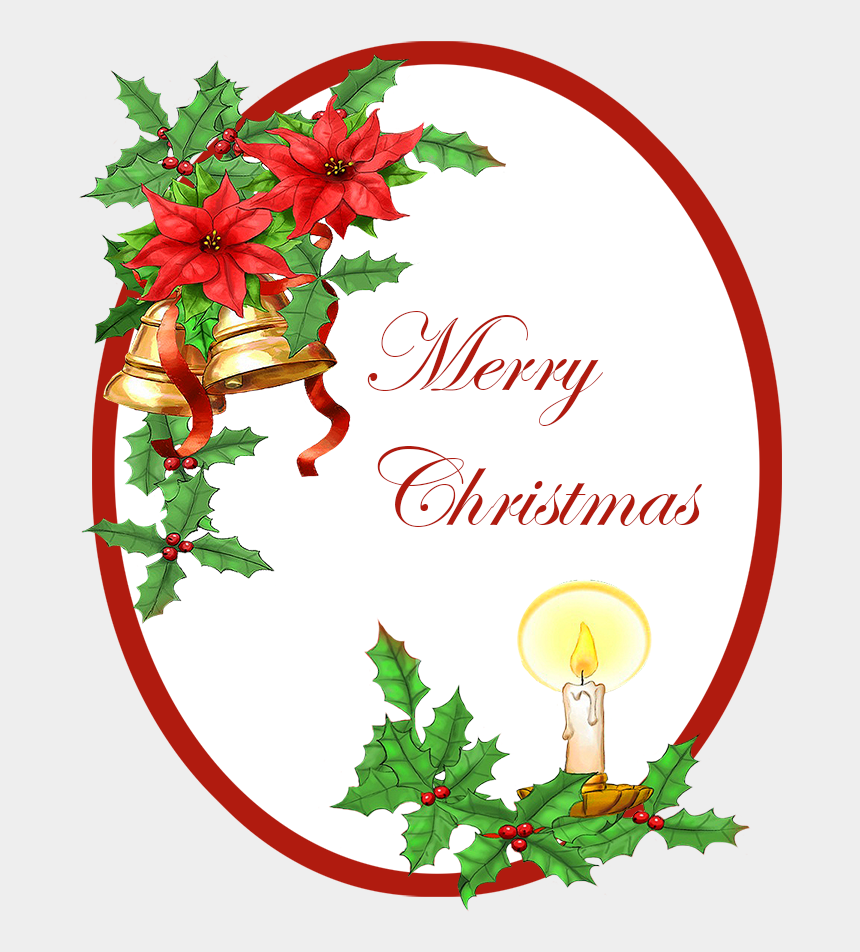 christmas clipart borders, Cartoons - Merry Christmas Greeting With Bells Holy Candle - Christmas