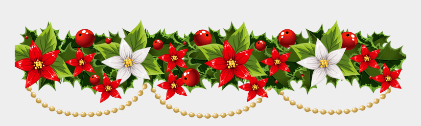 poinsettia clipart, Cartoons - Poinsettia Clipart Poinsettia Wreath - Christmas Garland Border Transparent