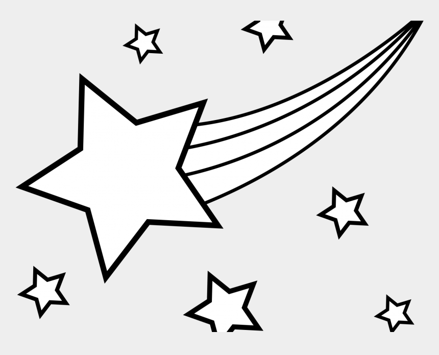 stars clipart black and white, Cartoons - Falling Stars Clipart Black And White - Black And White Drawn Shooting Star
