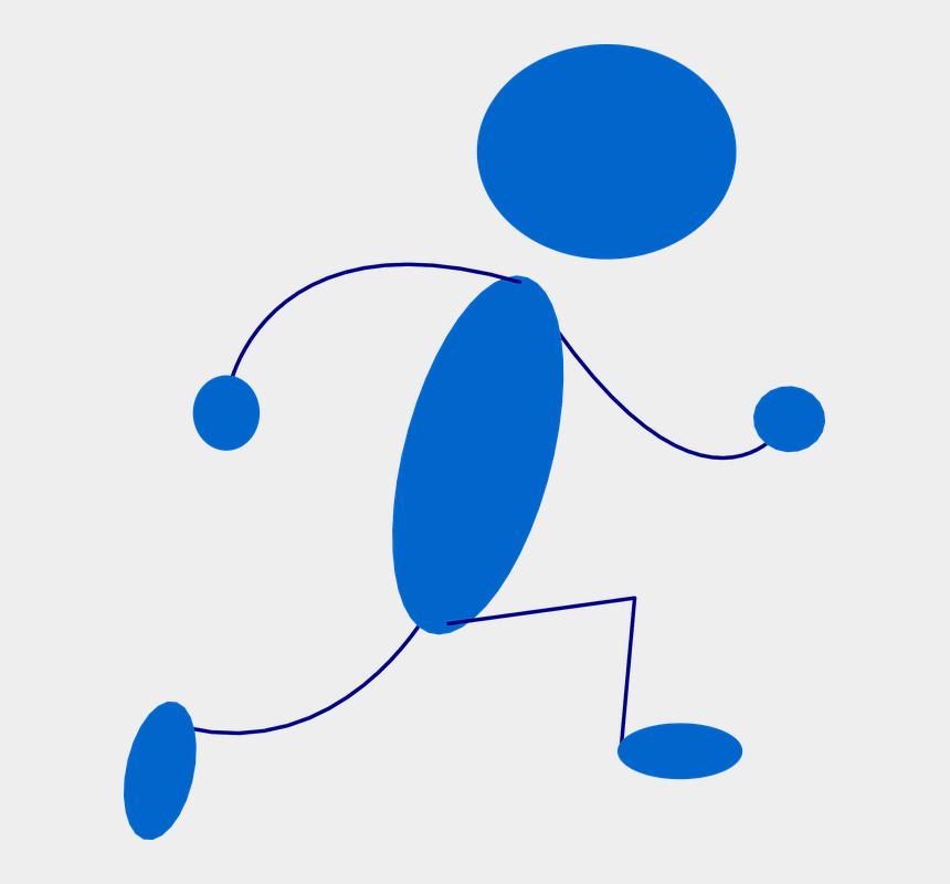 stick people clipart, Cartoons - Stickman Stick Figure Running Sprint Blue Run - Blue Man Clip Art