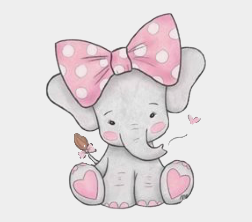 pink bow clipart, Cartoons - #elephant #pink #grey #gray #cute #baby #bow #hearts - Girl Baby Elephant Clipart