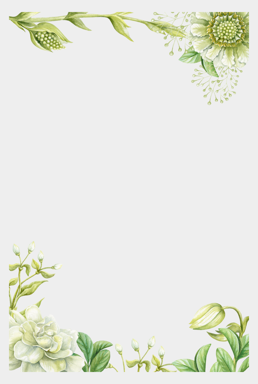 painted flower clipart, Cartoons - Green Borders Flower Painting Hand Painted Png Download - Green Flower Border Design