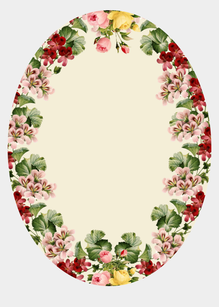 vintage flower border clipart, Cartoons - Oval Shape Flower Frame Png