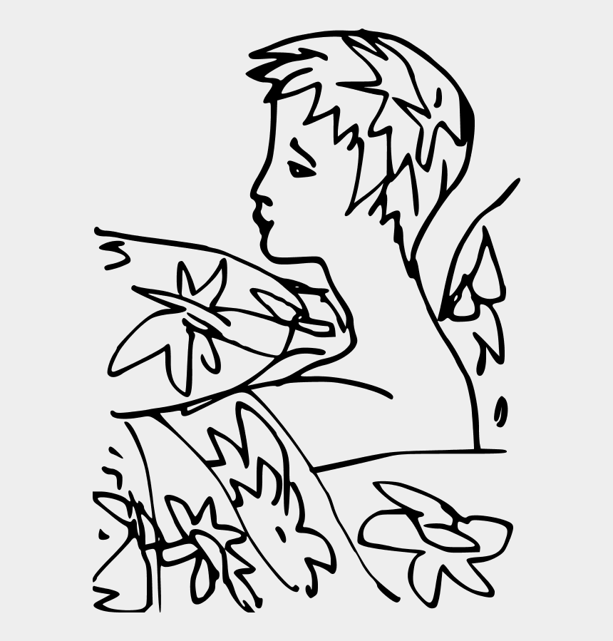 girl outline clipart, Cartoons - Outline Of Woman Surrounded By Flowers - Vector Graphics