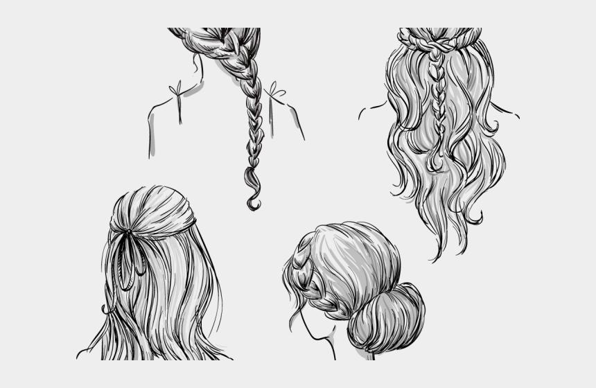 girl with braids clipart, Cartoons - Drawn Braid Hand Drawn - Hair Back View Drawing