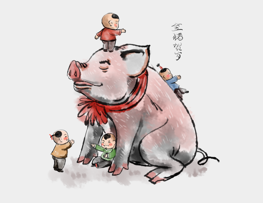 chinese new year decorations clipart, Cartoons - 2019, Spring Festival, Year Pig, Chinese Painting Series, - Chinese Painting