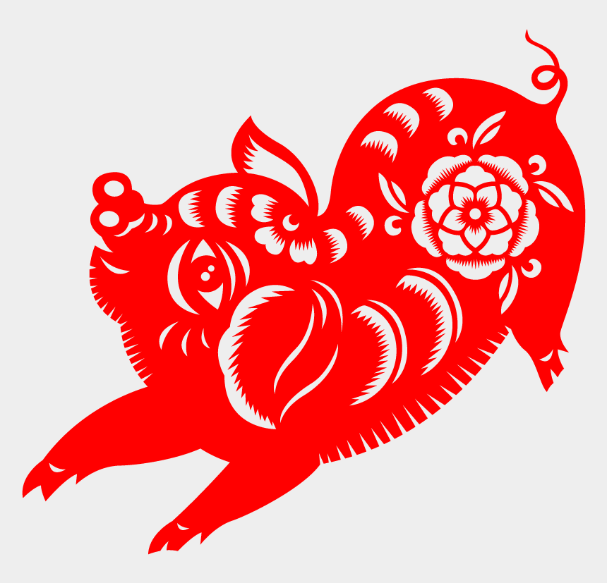 chinese new year decorations clipart, Cartoons - Chinese New Year Paper-cut Pig 2019 Vector - Chinese Paper Cutting Pig