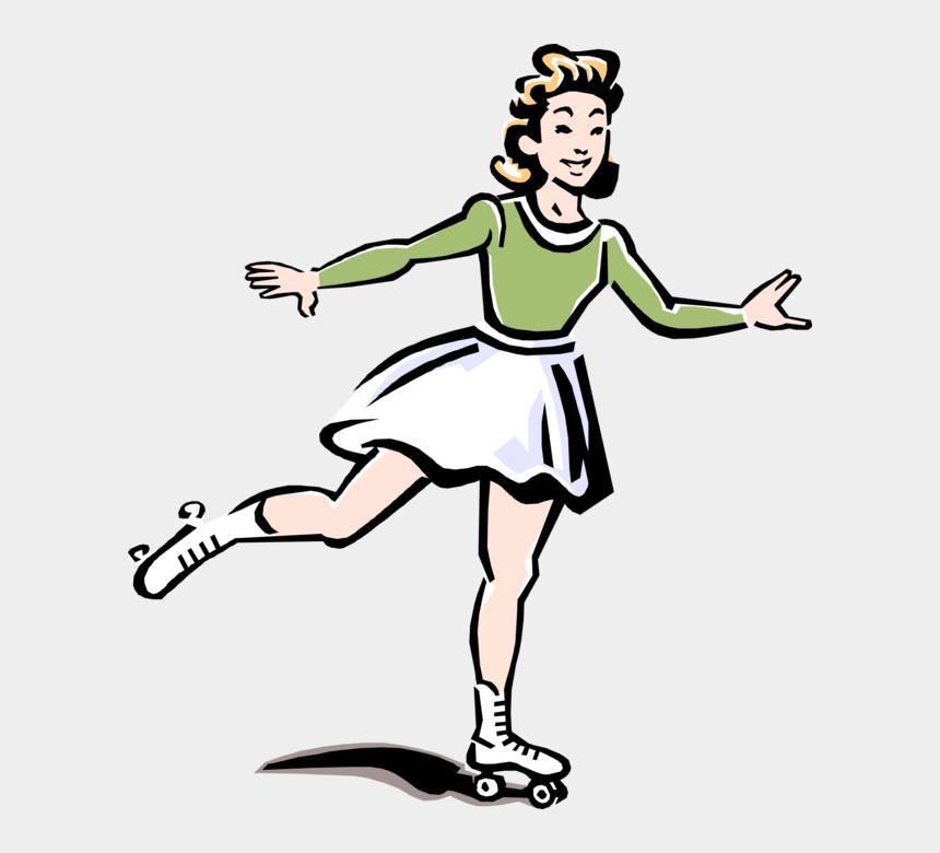 roller skating girl clipart, Cartoons - Vector Skate Vintage