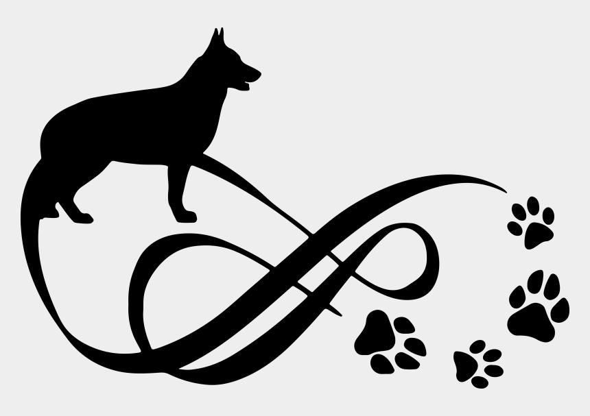 german shepherd dog clipart, Cartoons - German Shepherd Clipart Black And White - Paw Print Dog Infinity Tattoo