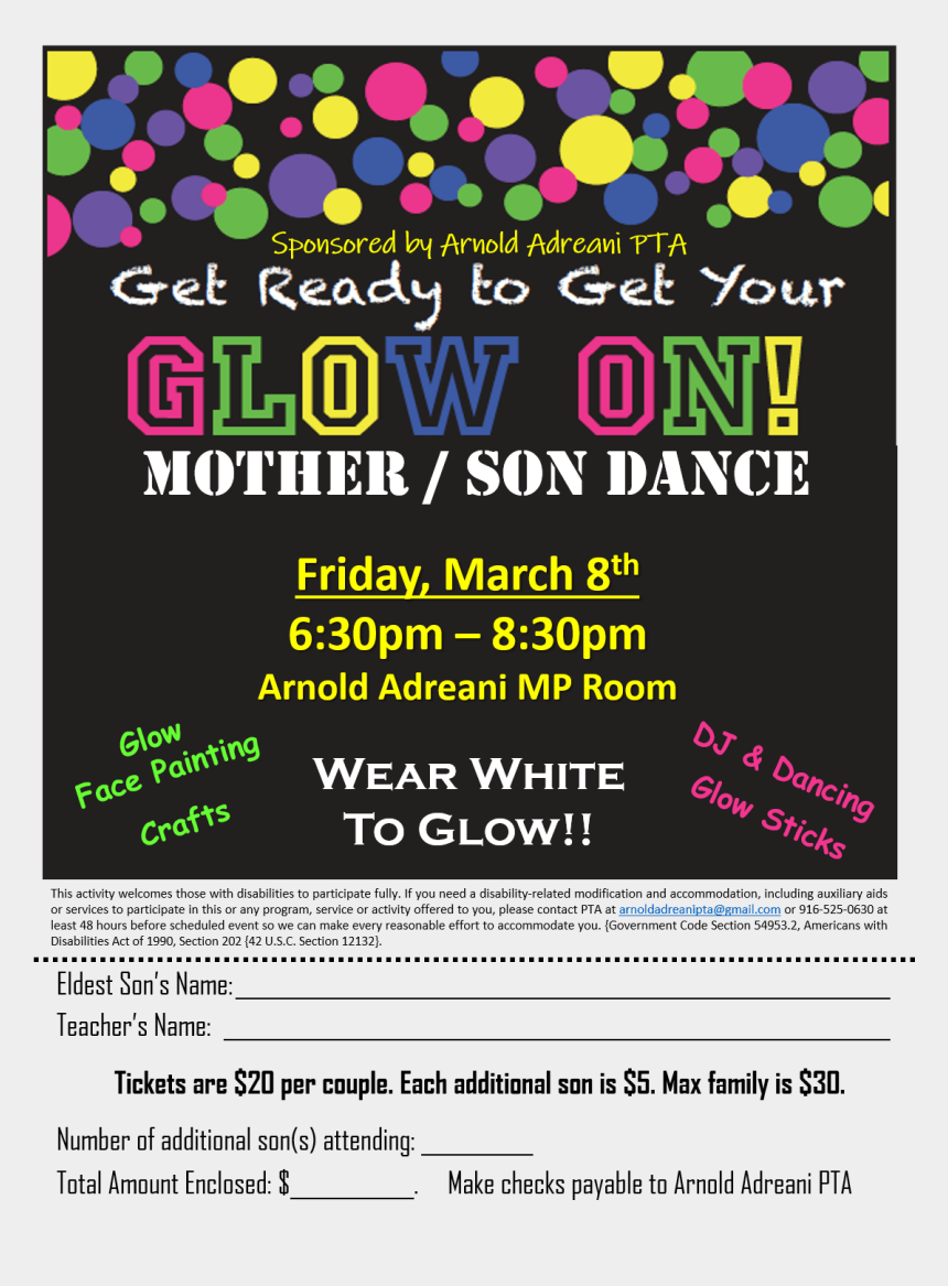 mother son dance clipart, Cartoons - Get Ready To Get You Glow On At The Mother/son Dance - Graphic Design