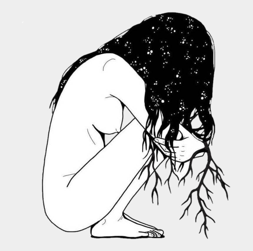 sad boy clipart black and white, Cartoons - Drawing Sadness Sad Girl Photography Tumblr Black White - Black And White Drawing Of A Girl