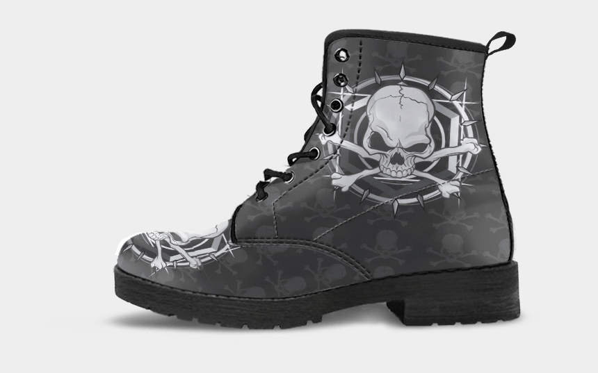 black and white tree of life clipart, Cartoons - Skull Obsession Sharpenned Skull Leather Boots - Boots Sun And Moon