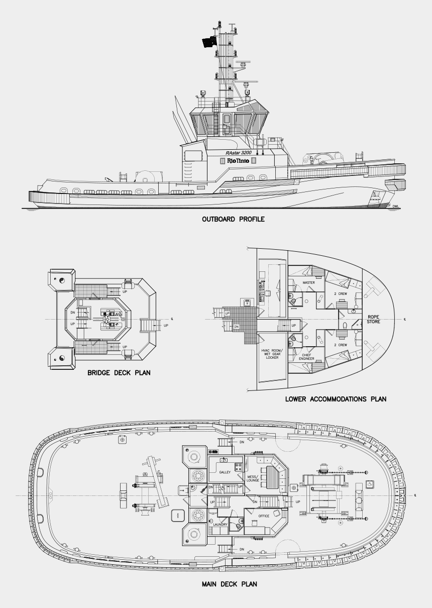tugboat clipart black and white, Cartoons - Pilbara Apollo A Latest Addition To The Rastar 3200 - Technical Drawing