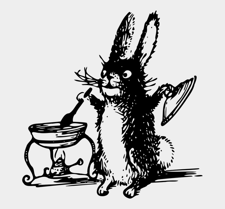 Rabbit Cooking Food Kitchen Animal Mammal Black And White Rabbit Cooking Cliparts Cartoons Jing Fm
