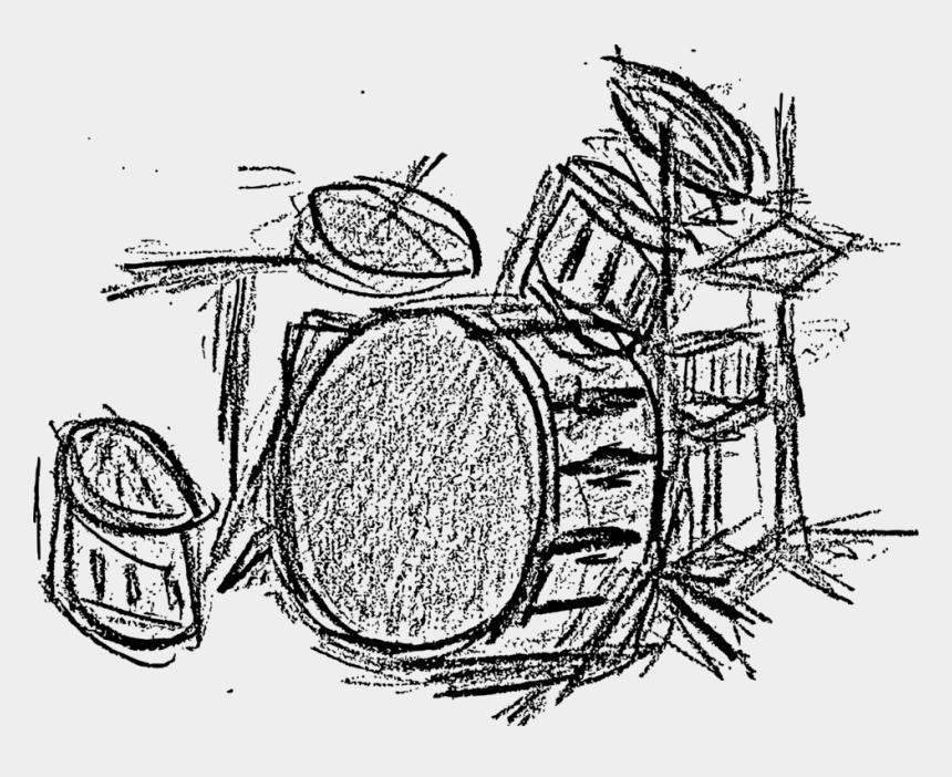 drum set clipart, Cartoons - Drum Set In Black And White - Drawings Of Drum Set