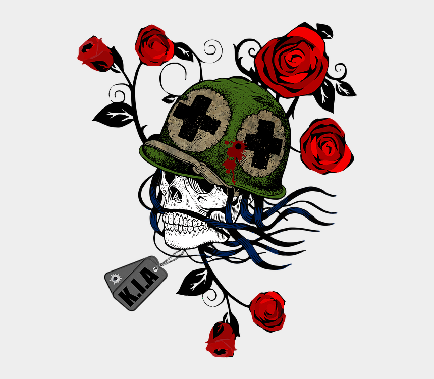fear clipart, Cartoons - Dead Flower Png - Skull Soldier Head Png