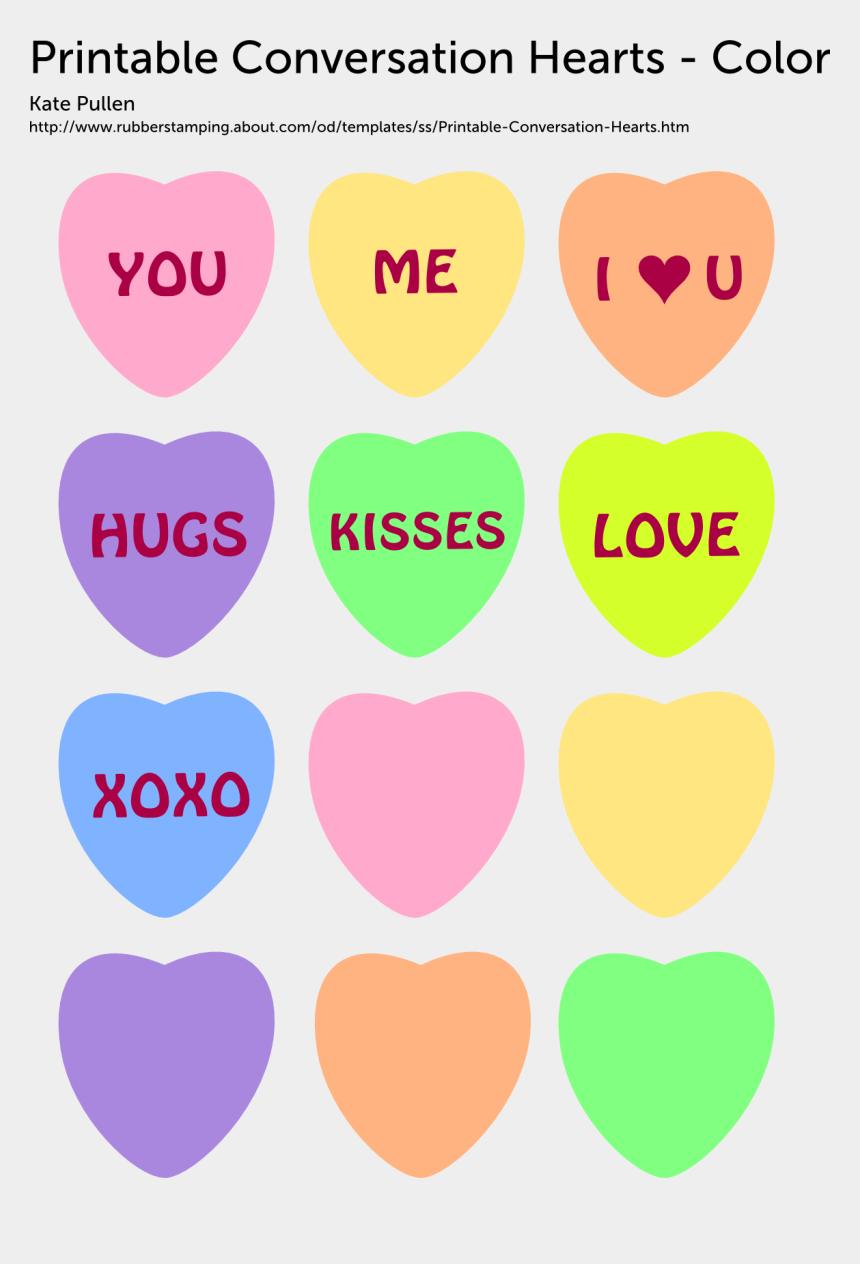 conversation clipart, Cartoons - Printable Conversation Hearts - Printable Heart Color Templates