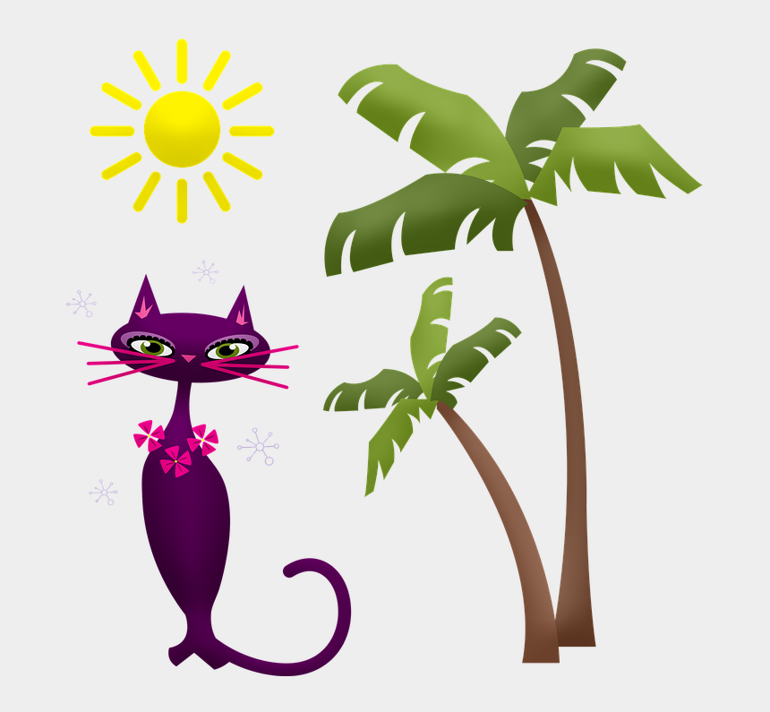palm tree and sun clipart, Cartoons - Palm Tree Cat Hawaii Sun Beach Seaside Water - Palm Trees