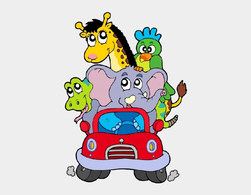 clipart animaux rigolos, Cartoons - Funny Cartoon Animals In Red Car All Animals Images, - Animal In Car Cartoon