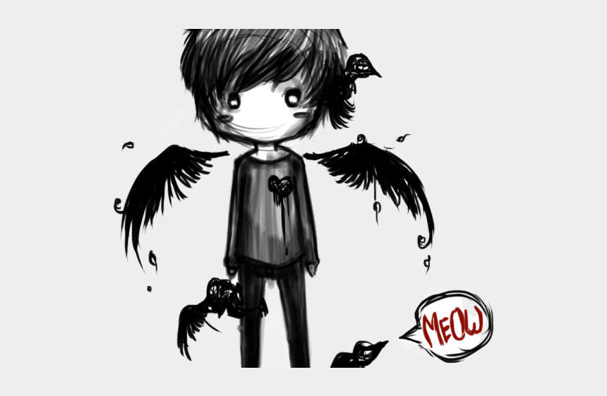 black angel clipart, Cartoons - Dark Angel Clipart Chibi - Aestheic Anime Boy Sad