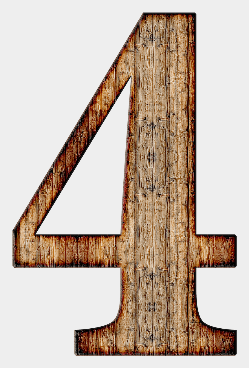 number four clipart, Cartoons - Wooden Number - Wooden Number Png