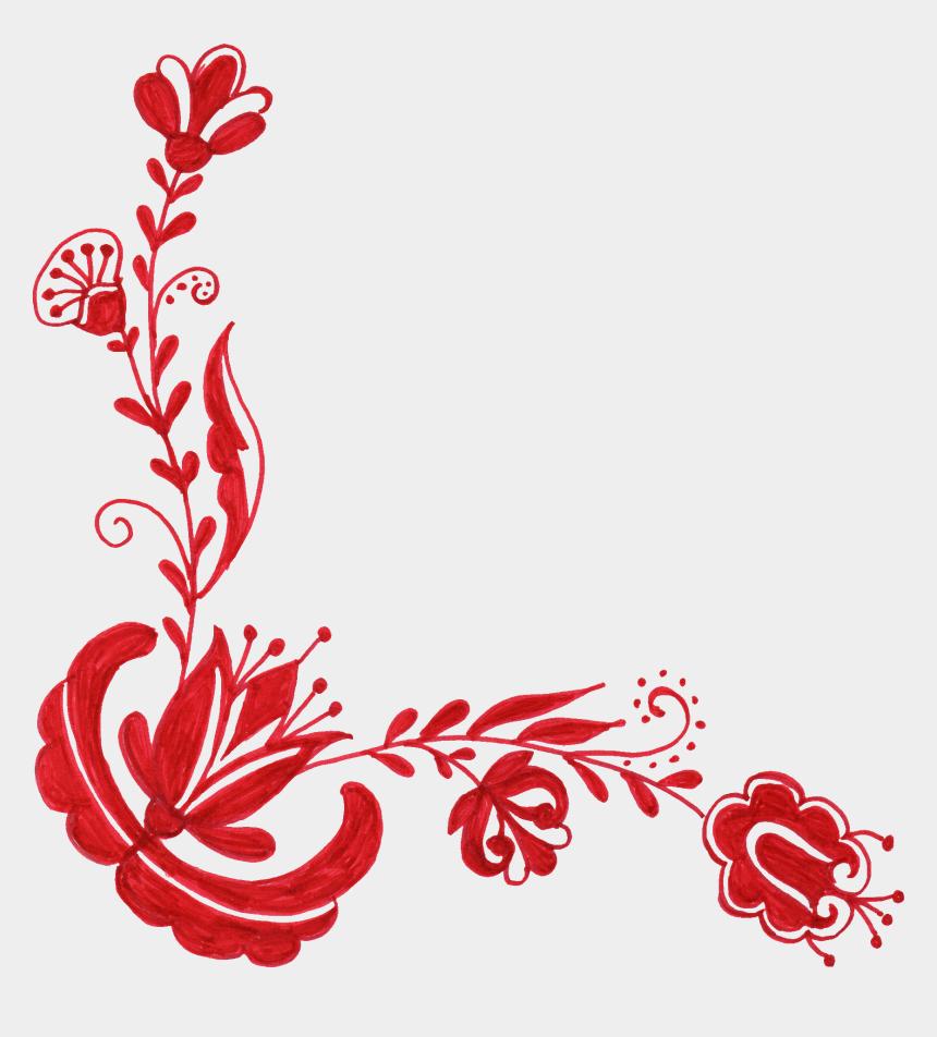 floral corner clipart, Cartoons - Red Flower Corner Ornament Png - Flower Corner Designs Png