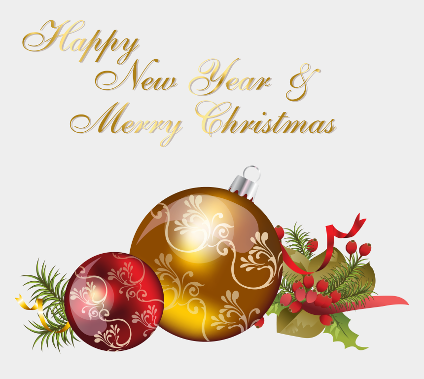 clipart merry christmas and happy new year, Cartoons - Happy New Year And Merry Christmas - Merry Christmas And Happy New Year 2019 Png