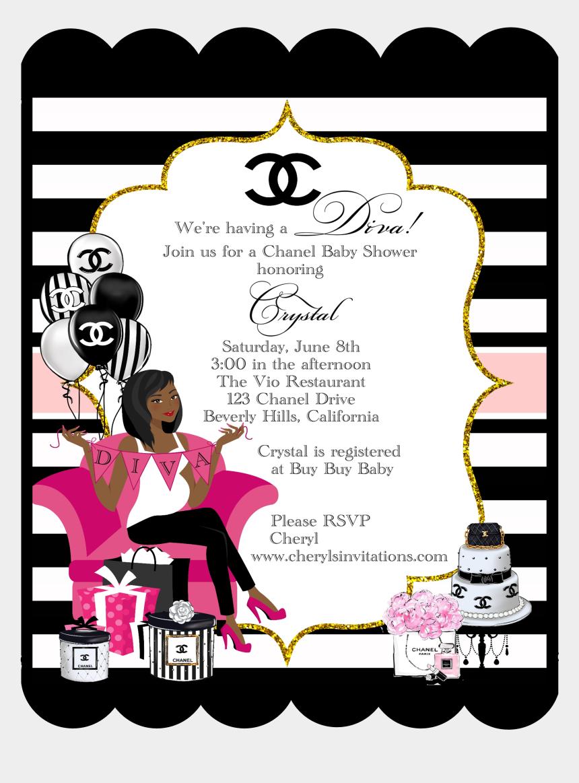 baby shower invitation clipart, Cartoons - Chanel Diva Baby Shower Bottles & Custom Card Invitations - Chanel Baby Shower Invitation