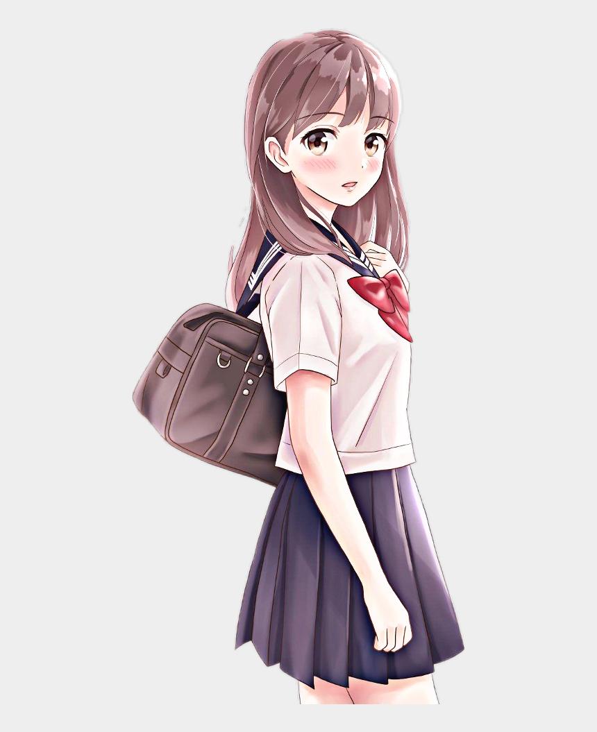 student walking clipart, Cartoons - Beautiful School Girl Anime