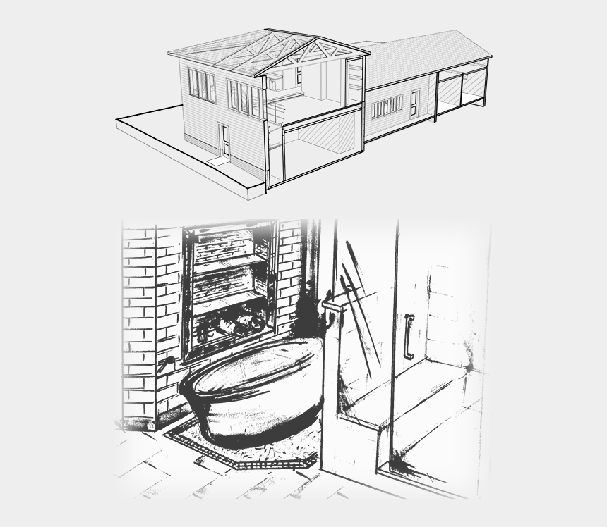kitchen cupboard clipart, Cartoons - Tile Drawing Kitchen Cabinet Section - Sketch