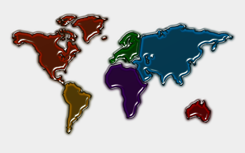 north america map clipart, Cartoons - Continent, America, World, Map, Usa - Simple Colour World Map
