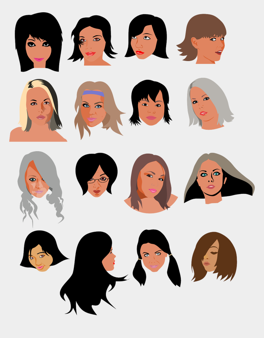 clipart of women's faces, Cartoons - Women Girls Faces Beauty Heads Persons - Clip Art Womens Faces