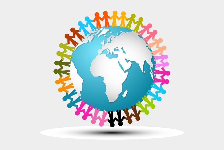 gül clipart, Cartoons - Clipart Dünya Üzerinde Kağıttan Çocuklar - People Holding Hands Around The Earth