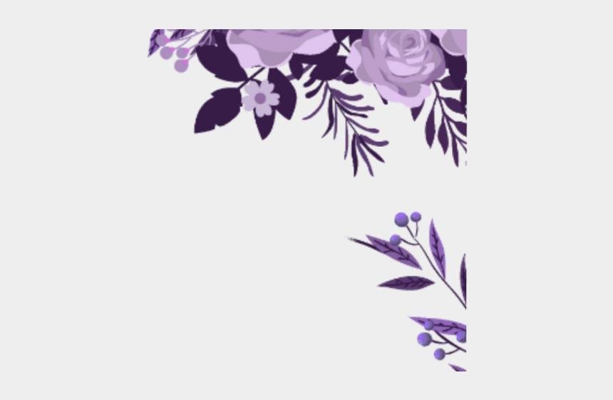 purple flower border clipart, Cartoons - Purple Flower Clipart Corner Border - Watercolor Flower Border Png