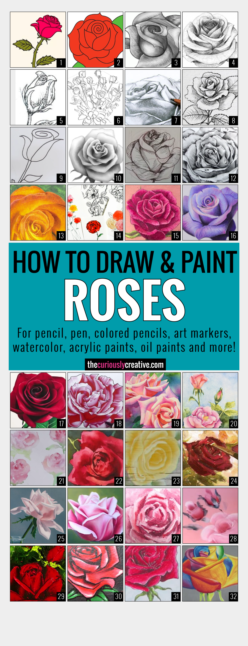 watercolor roses clipart, Cartoons - The Ultimate List Of Resources And Tutorials For How - Draw A Rose