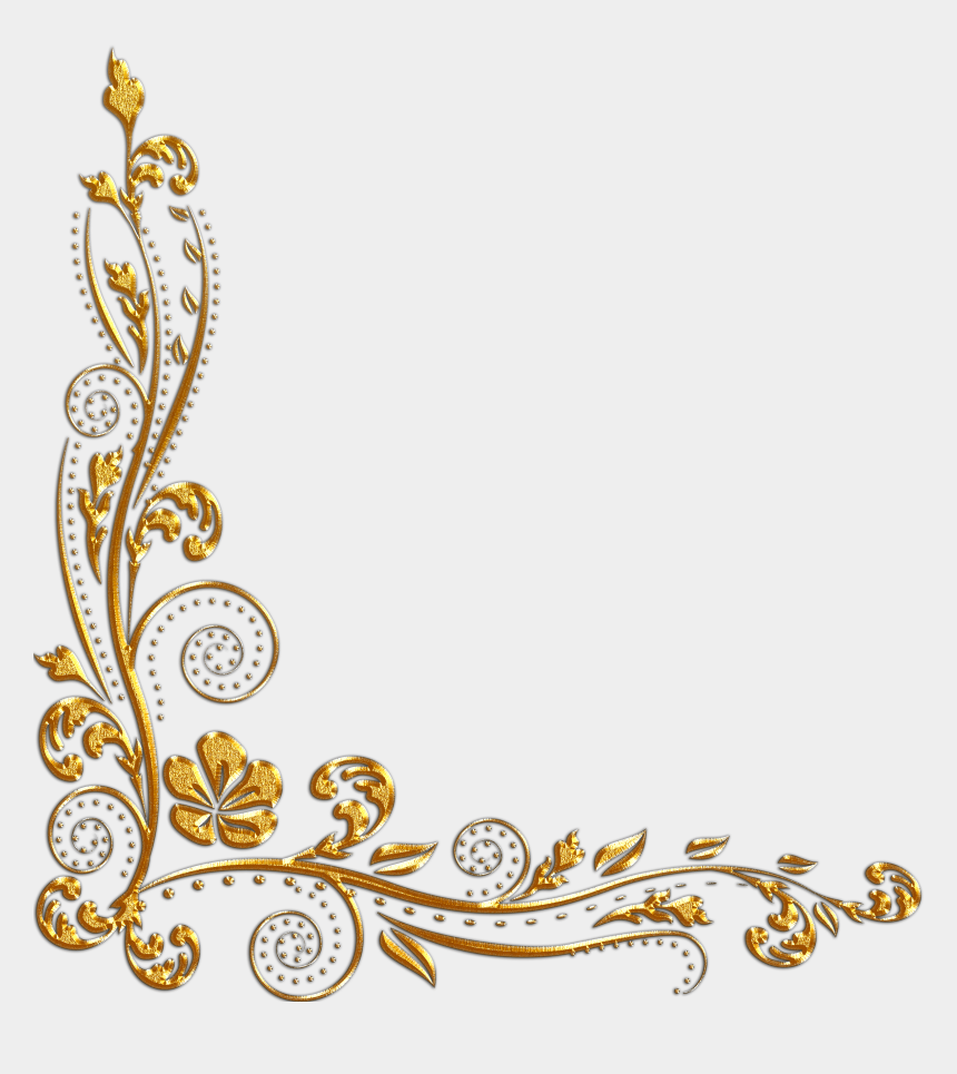 gold flower clipart, Cartoons - Gold Flower Border Png - Gold Corner Border Png