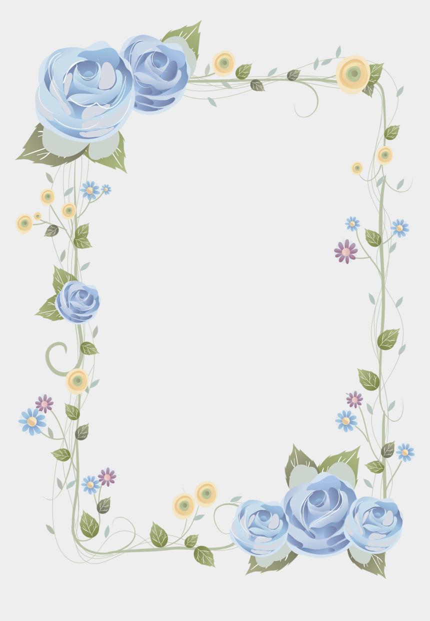 rose frame clipart, Cartoons - Blue Rose Frame - Background Frame Flower Hd