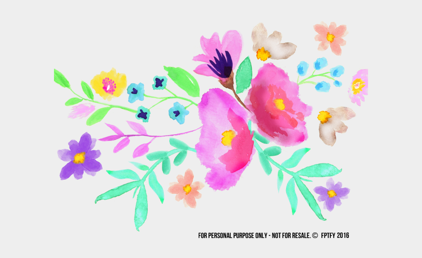 colorful flowers clipart, Cartoons - Pink Flower Clipart Colorful Flower - Spring Watercolor Flower Clipart
