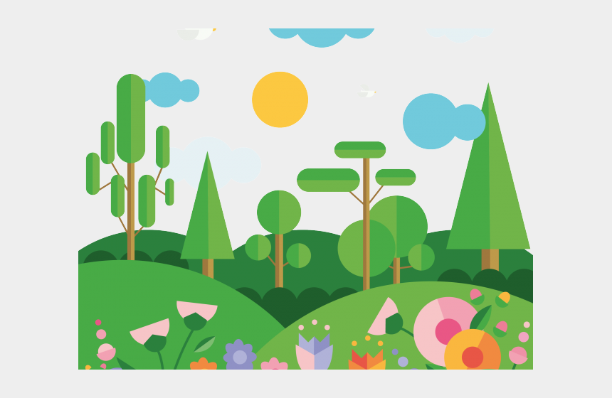 green mountain clipart, Cartoons - Mountain Clipart Spring - Landscape Using Geometrical Shapes
