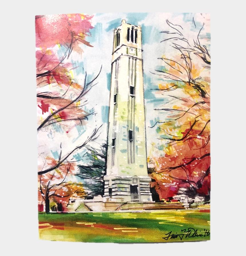 clock tower clipart, Cartoons - Ball State Bell Tower Png - Nc State Bell Tower Watercolor