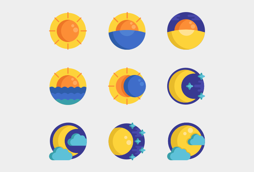 sun moon stars clipart, Cartoons - Weather - Sun And Moon Icons